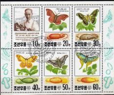 WWF Seidenraupen 1991 Korea 3191/6 Kleinbogen O 4€ Naturschutz Experte Dr.Ung Sang Bf Raupen Papillon Sheetlet Of Corea - Corée Du Nord