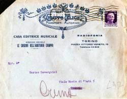BUSTA PUBBLICITARIA-DITTA CHIAPPO FELICE-PIANOFORTI-AUTOPIANI-RADIOFONIA-TORINO-SPEDITA A CREMA-4-5-1931 - Storia Postale
