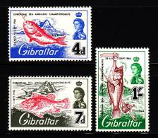 Gibraltar MH Scott #177-#179 Set Of 3 European Sea Angling Championships - Red Bream, Scorpian Fish,Stone Bass - Gibraltar