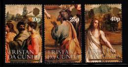 Tristan Da Cunha MNH Scott #344-#346 Set Of 3 Details From Christ's Charge To St Peter - Raphael 500th Birth Ann - Tristan Da Cunha