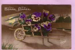 CPA/K276/BONNE ANNEE BROUETTE ET BOUQUET DE FLEURS - Nouvel An