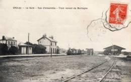 CRULAI.  La Gare.  Train Venant De Mortagne. - France