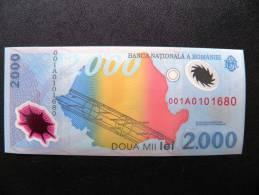 UNC Banknote From Romania #111 2000 Lei 1999 Commemorative Issue Solar Eclipse, Polymer Plastic #prefix001A - Romania