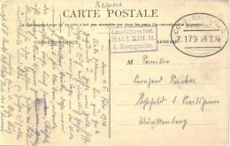 Feldpost 1.WK BAHNPOST COURTRAI - LILLE Zug 179  1916 - Deutschland