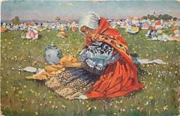 pologne - ref 167- peinture - joza uprka  - jeune paysanne de milocany -peasant girl from lilocany -carte bon etat -