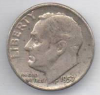 STATI UNITI 1 DIME 1957 AG - Emissioni Federali