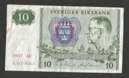 Sweden / Svezia - SVERIGE RIKSBANK - 10 Kronor - 1987 - Svezia