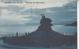 QUARTO DEI MILLE - TRAMONTO COL MONUMENTO VG 1924 BELLA FOTO D´EPOCA ORIGINALE 100% - Genova (Genoa)