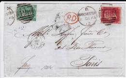 GB - 1865 - RARE LETTRE De MANCHESTER Pour PARIS Avec YVERT N°31 + 26 (PL ILLISIBLE) - 1840-1901 (Regina Victoria)