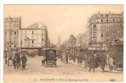 MONTROUGE - HAUTS DE SEINE - PORTE DE MONTROUGE VERS PARIS - TRAMWAY - AUTOMOBILE - ATTELAGE - ANIMATION - Montrouge