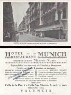 Carte Style Chromo : Hotel - Restaurant Munich, Calle De La Paz, Valencia (Espagne) - Cromos