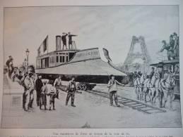 Transport De La Cannoniére Farcy , De Seine Au Palais De L'exposition Maritime, Traversée Du Pont De L'Alma 25 Jui 1888 - Documents Historiques