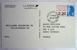 FRANCE Carte Postale électronique Philexfrance 89 - Entier Postal - (N°2496A-CP) - Cartes Postales Types Et TSC (avant 1995)