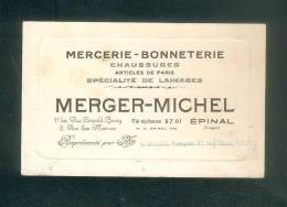 Epinal - Carte De Représentant MERGER MICHEL  Mercerie Bonneterie Ayant Voyagé Comme Une Carte Postale Voir Verso - Epinal