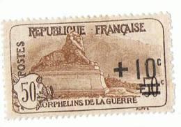 1922 - Au Profit Des Orphelins De Guerre - + 10 C Sur 50 C + 50 C -  Avec Charnière - Yvert & Tellier N° 167 - Neufs