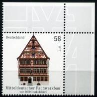 BRD - Michel 2970 - ** Postfrisch Eckrand Oben Rechts - 58C Fachwerkbau Dinkelsbühl - Ungebraucht