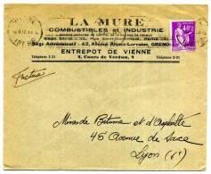 LETTRE DE VIENNE /   TYPE PAIX  SUR LETTRE 1937 / LA MURE COMBUSTIBLES - 1921-1960: Periodo Moderno