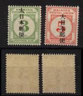 Japan Occupation Malaysia Postage Due Mi# 14-15 ** + * - Gran Bretaña (antiguas Colonias Y Protectorados)