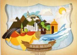 Lote PEP405, Colombia, Dia Mundial Del Correo, Ciudades,  Postal, Double Postcard, Unusual Stamp No Commercial Value - Colombia
