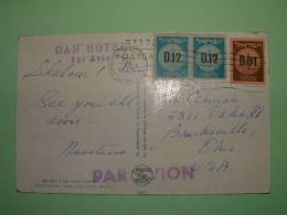 """Israel 1960 Postcard """"Jerusalem""""  To USA - Coins Agave Plant Door - Israel"""