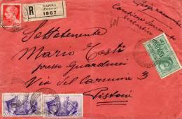 1941 LETTERA   RACCOMANDATA ESPRESSO  CON ANNULLO NAPOLI FERROVIA - Poststempel
