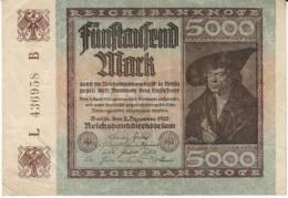 #81c Germany 5000 Marks 2.12.1922 Banknote Currency - [ 3] 1918-1933: Weimarrepubliek