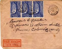 Enveloppe - Afrique Equatoriale Française - Gabon - Par Avion - 3 X 4 Fr Bleu - A.E.F. (1936-1958)