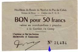 1939 - 1945 // P.O.W.// Prisonnier De Guerre // LENS // HOUILLERES Du Bassin Du NORD Et Du PAS De CALAIS // 50 Frs - Bons & Nécessité