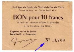 1939 - 1945 // P.O.W.// Prisonnier De Guerre // LENS // HOUILLERES Du Bassin Du NORD Et Du PAS De CALAIS // 10 Frs - Bons & Nécessité