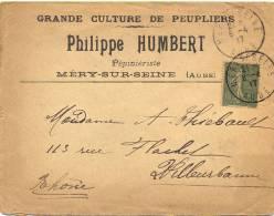 GRANDE CULTURE DE PEUPLIERS PHILIPPE HUMBERT MÉRY-SUR-SEINE AUBE Càd Du 6-4-17 - Marcofilia (sobres)
