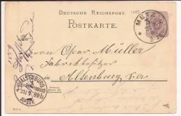 A74 - METZ Moselle - 1889 - Entier Postal - Marcophilie (Lettres)