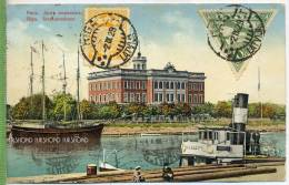 """Riga, 1928, 2 Marken (unregelmäßige Zähnung) Bs. Auf Farbiger Ak.-Karte """"Riga, Seemannshaus"""" - Lettland"""