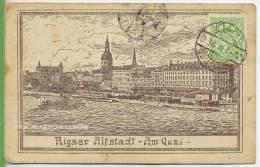 "RIGA, 1921, 3 R. Wappen, Bs. Auf Ak.-Karte ""Rigaer Altstadt, Am Quai"" - Lettland"
