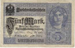 #56b Germany 5 Marks 1.8.1917 Banknote Currency - [ 2] 1871-1918 : Duitse Rijk