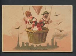 Côtes Du Nord, Dinan, Jolie Chromo Pierrot & Colombine, L'enlèvement De Colombine Dans Une Montgolfière - Chromos