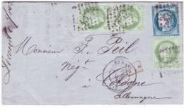1874- Lettre De SEDAN ( Ardennes) Cad T17 Affr. N°60 + 53 X 3  Pour Cologne ( Allemagne ) - 1849-1876: Période Classique