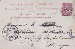 BELGIE  -  CARTE POSTALE  -  1893 NACH AUGSBURG  - - 1893-1900 Schmaler Bart