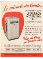 LE MIRACLE DU LUNDI LA MACHINE  A  LAVER  ELIDA  SAUTER 311 - Vieux Papiers