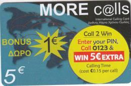 GREECE - More Calls Prepaid Card 5 Euro, Used - Greece