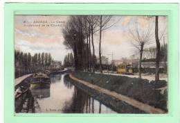 AMIENS (80) / METIERS / BATELLERIE/BATEAUX/PENICH ES/CARTE COLORISEE A LA GOUHACHE/Le Canal Et Boulevard De La Citadelle - Amiens