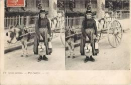 SCENES ANIMEES UNE LAITIERE ATTELAGE STEREO METIER 1910 - Sin Clasificación