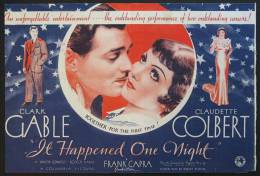 Cartel Affiche Poster IT HAPPENED ONE NIGHT Movie Poster (1934) Size: Herald, 10x15 REPRODUCTION - Afiches