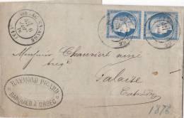 CALVADOS, 1876, ORBEC EN AUGE Pour FALAISE Sur PAIRE Yv 60, RAYMOND PICARD BANQUIER/2435 - 1849-1876: Période Classique