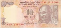 BILLETE DE LA INDIA DE 10 RUPIAS   GHANDI - India