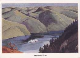 Painting  Of Canadian Steamship On The Saguenay River, Quebec, Canada, 50-70´s - Saguenay