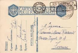 BOLOGNA UFF. CONCENTRAMENTO /  FERRARA  13.4.1941 - Card_ Cartolina Postale In Franchigia - Storia Postale