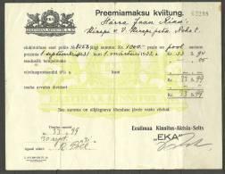 """Estland Estonia Estonie Versicherungsdokument Insurance Document (receipt) 1939 Versicherungsgesellschaft """"EKA"""" - Bank & Insurance"""