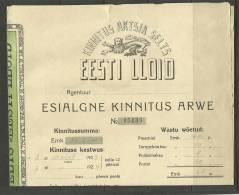 Estland Estonia 1923  Versicherungsdokument Insurance Document Estonian LLOYD - Bank & Insurance
