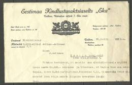 Estland Estonia Estonie Versicherungsdokument Insurance Document 1938 - Bank & Insurance