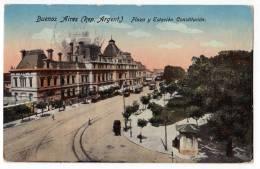 AMERICA ARGENTINA BUENOS AIRES SQUARE AND CONSTITUCION STATION OLD POSTCARD 1919. - Argentina